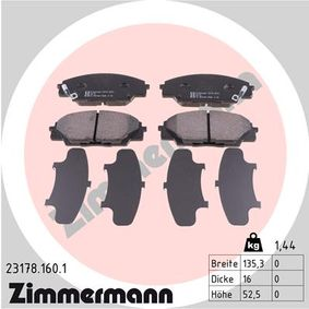 Brake Pad Set, disc brake Width: 135mm, Height: 52mm, Thickness: 16mm with OEM Number 45022S2AE50