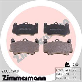 Bremsbelagsatz, Scheibenbremse Breite: 140mm, Höhe: 88mm, Dicke/Stärke: 17mm mit OEM-Nummer 996.351.949.12