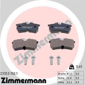 Bremsbelagsatz, Scheibenbremse Breite: 87mm, Höhe: 42mm, Dicke/Stärke: 15mm mit OEM-Nummer 1 848 556