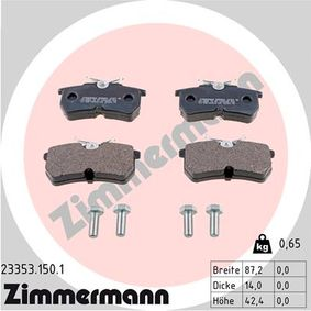 Brake Pad Set, disc brake Width: 87mm, Height: 42mm, Thickness: 15mm with OEM Number 5382847