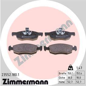 Bremsbelagsatz, Scheibenbremse Breite 1: 150,1mm, Breite 2: 151,4mm, Höhe 2: 52,7mm, Dicke/Stärke 2: 18,0mm mit OEM-Nummer 9 949 125
