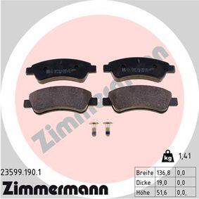 ZIMMERMANN  23599.190.1 Brake Pad Set, disc brake Width: 136,8mm, Height: 51,6mm, Thickness: 19,0mm