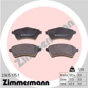 Bremsbelagsatz, Scheibenbremse Breite: 131,4mm, Höhe: 62,0mm, Dicke/Stärke: 17,5mm mit OEM-Nummer 236.15