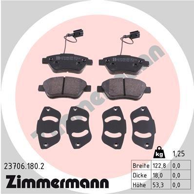 ZIMMERMANN  23706.180.2 Bremsbelagsatz, Scheibenbremse Breite: 123mm, Höhe: 53mm, Dicke/Stärke: 18mm