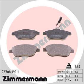 Bremsbelagsatz, Scheibenbremse Breite: 136,8mm, Höhe: 57,4mm, Dicke/Stärke: 19,0mm mit OEM-Nummer 77 362 712
