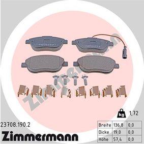 Bremsbelagsatz, Scheibenbremse Breite: 136,8mm, Höhe: 57,4mm, Dicke/Stärke: 19,0mm mit OEM-Nummer 95515027