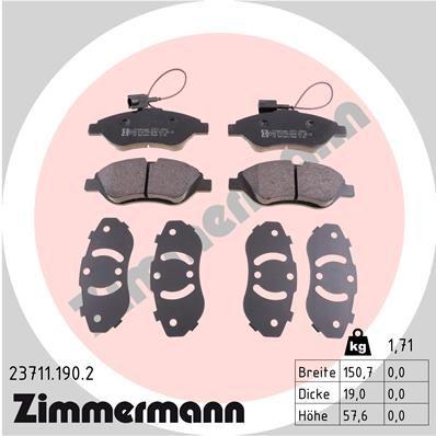ZIMMERMANN  23711.190.2 Bremsbelagsatz, Scheibenbremse Breite: 151mm, Höhe: 58mm, Dicke/Stärke: 19mm