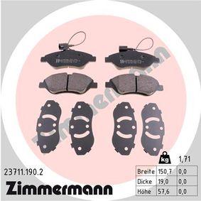 Bremsbelagsatz, Scheibenbremse Breite: 150,7mm, Höhe: 57,6mm, Dicke/Stärke: 19,0mm mit OEM-Nummer 77 365 188