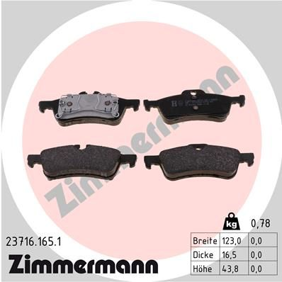 ZIMMERMANN  23716.165.1 Bremsbelagsatz, Scheibenbremse Breite: 123mm, Höhe: 44mm, Dicke/Stärke: 16mm