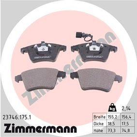 Brake Pad Set, disc brake Width 1: 155mm, Width 2 [mm]: 156mm, Height 1: 73mm, Height 2: 75mm, Thickness: 18mm with OEM Number 7L6 698 151F