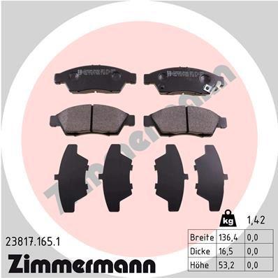 ZIMMERMANN  23817.165.1 Комплект спирачно феродо, дискови спирачки ширина: 136мм, височина: 53мм, дебелина: 16мм