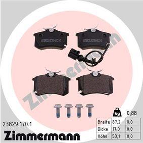 Bremsbelagsatz, Scheibenbremse Breite: 87,2mm, Höhe: 53,1mm, Dicke/Stärke: 17,0mm mit OEM-Nummer 6Q0698451