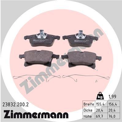 ZIMMERMANN  23832.200.2 Комплект спирачно феродо, дискови спирачки ширина 1: 155мм, ширина 2: 156мм, височина 1: 70мм, височина 2: 76мм, дебелина: 20мм