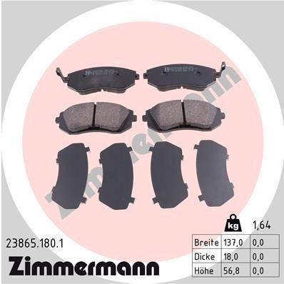 ZIMMERMANN  23865.180.1 Bremsbelagsatz, Scheibenbremse Breite: 137mm, Höhe: 57mm, Dicke/Stärke: 18mm