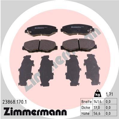ZIMMERMANN  23868.170.1 Комплект спирачно феродо, дискови спирачки ширина: 142мм, височина: 57мм, дебелина: 17мм
