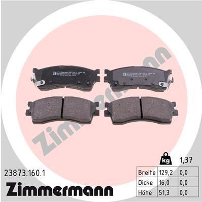 ZIMMERMANN  23873.160.1 Комплект спирачно феродо, дискови спирачки ширина: 129мм, височина: 51мм, дебелина: 16мм