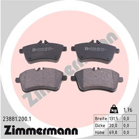 Brake Pad Set, disc brake Width: 132mm, Height: 70mm, Thickness: 20mm with OEM Number A 1694200120