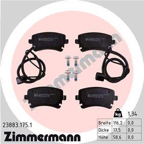 Bremsbelagsatz, Scheibenbremse Breite: 116,2mm, Höhe: 58,6mm, Dicke/Stärke: 17,5mm mit OEM-Nummer 3D0698451