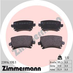 ZIMMERMANN Bremsbelagsatz, Scheibenbremse 23914.170.1 für AUDI A4 Cabriolet (8H7, B6, 8HE, B7) 3.2 FSI ab Baujahr 01.2006, 255 PS