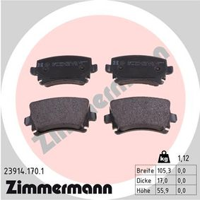 Bremsbelagsatz, Scheibenbremse Breite: 105mm, Höhe: 56mm, Dicke/Stärke: 17mm mit OEM-Nummer JZW 698 451D