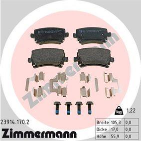 Bremsbelagsatz, Scheibenbremse Breite: 105mm, Höhe: 56mm, Dicke/Stärke: 17mm mit OEM-Nummer 1K0 698 451 H