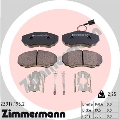 ZIMMERMANN  23917.195.2 Комплект спирачно феродо, дискови спирачки ширина: 141мм, височина: 66мм, дебелина: 20мм
