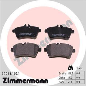 Bremsbelagsatz, Scheibenbremse Breite: 117mm, Höhe: 64mm, Dicke/Stärke: 19mm mit OEM-Nummer 1694201020
