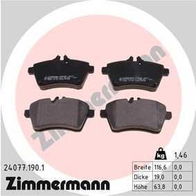 Brake Pad Set, disc brake Width: 117mm, Height: 64mm, Thickness: 19mm with OEM Number 169 420 13 20