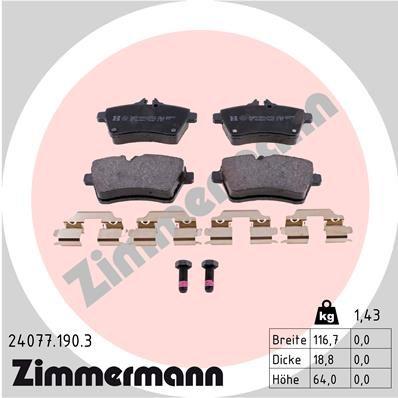 ZIMMERMANN  24077.190.3 Bremsbelagsatz, Scheibenbremse Breite: 117mm, Höhe: 64mm, Dicke/Stärke: 19mm