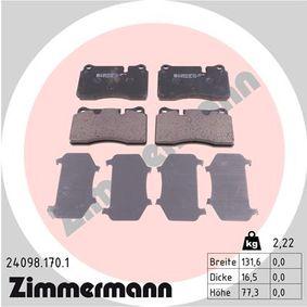 Zestaw klocków hamulcowych, hamulce tarczowe Szer. 1: 131,6mm, Wys.: 77,3mm, Grubość: 16,5mm z OEM Numer 8J0698151M
