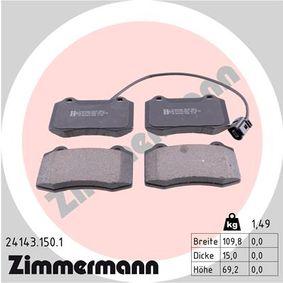 Bremsbelagsatz, Scheibenbremse Breite: 109,8mm, Höhe: 69,2mm, Dicke/Stärke: 15,0mm mit OEM-Nummer 1ML.698.151