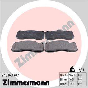 Bremsbelagsatz, Scheibenbremse Breite: 165mm, Höhe: 74mm, Dicke/Stärke: 16mm mit OEM-Nummer 3411 6 786 044