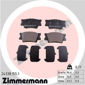 Bremsbelagsatz, Scheibenbremse Breite: 96,6mm, Höhe: 49,2mm, Dicke/Stärke: 15,5mm mit OEM-Nummer 04466-06090