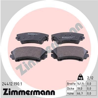 ZIMMERMANN  24412.190.1 Brake Pad Set, disc brake Width: 142mm, Height: 67mm, Thickness: 19mm