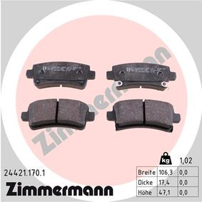 Brake Pad Set, disc brake Width: 106mm, Height: 47mm, Thickness: 17mm with OEM Number 2284 6359