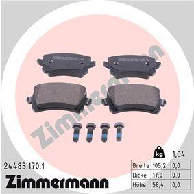 Bremsbelagsatz, Scheibenbremse Breite: 105,5mm, Höhe: 56,4mm, Dicke/Stärke: 17mm mit OEM-Nummer 3C0698451D