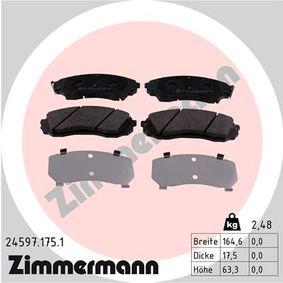 Bremsbelagsatz, Scheibenbremse Breite: 165mm, Höhe: 63mm, Dicke/Stärke: 18mm mit OEM-Nummer 58101-4DC00