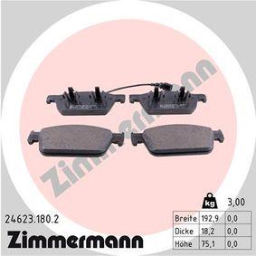 Bremsbelagsatz, Scheibenbremse Breite: 193mm, Höhe: 75mm, Dicke/Stärke: 18mm mit OEM-Nummer 7E0698151C