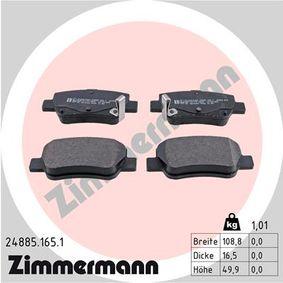 Bremsbelagsatz, Scheibenbremse Breite: 108,8mm, Höhe: 49,9mm, Dicke/Stärke: 16,5mm mit OEM-Nummer 249.46
