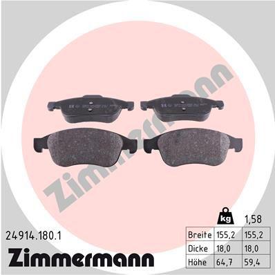 ZIMMERMANN  24914.180.1 Bremsbelagsatz, Scheibenbremse Breite: 155mm, Höhe 1: 65mm, Höhe 2: 59mm, Dicke/Stärke: 18mm