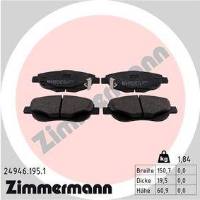 ZIMMERMANN  24946.195.1 Bremsbelagsatz, Scheibenbremse Breite: 150,7mm, Höhe: 61mm, Dicke/Stärke: 19,5mm