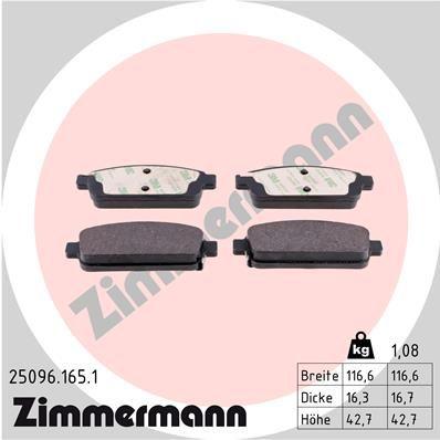 ZIMMERMANN  25096.165.1 Комплект спирачно феродо, дискови спирачки ширина: 116мм, височина: 43мм, дебелина: 16мм