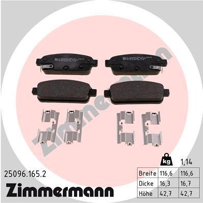 ZIMMERMANN  25096.165.2 Комплект спирачно феродо, дискови спирачки ширина: 116мм, височина: 43мм, дебелина: 16мм