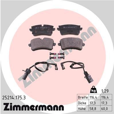 ZIMMERMANN  25214.175.3 Bremsbelagsatz, Scheibenbremse Breite 1: 116mm, Höhe 1: 60mm, Höhe 2: 59mm, Dicke/Stärke: 18mm