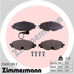 Kit de plaquettes de frein, frein à disque Largeur 1: 160,1mm, Hauteur 1: 64,6mm, Épaisseur: 19,9mm avec OEM numéro 8V0698151D