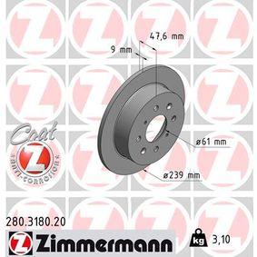 Спирачен диск 280.3180.20 Jazz 2 (GD_, GE3, GE2) 1.2 i-DSI (GD5, GE2) Г.П. 2008