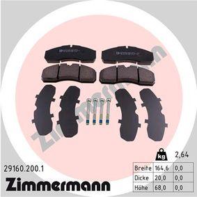 Bremsbelagsatz, Scheibenbremse Breite: 164,6mm, Höhe: 68,0mm, Dicke/Stärke: 20,0mm mit OEM-Nummer 50 01 844 748