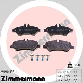 Bremsbelagsatz, Scheibenbremse Breite: 136,8mm, Höhe: 63mm, Dicke/Stärke: 19,5mm mit OEM-Nummer 2E0698451