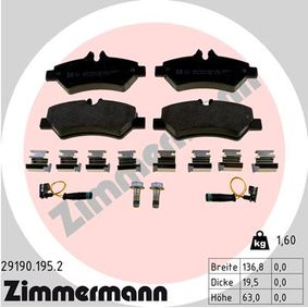 Bremsbelagsatz, Scheibenbremse Breite: 137mm, Höhe: 63mm, Dicke/Stärke: 20mm mit OEM-Nummer A0044206920