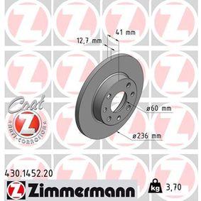 ZIMMERMANN Disco de travão 430.1452.20 com códigos OEM 569030
